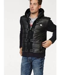 schwarzer gesteppter Pullover mit einem Kapuze von Cipo & Baxx