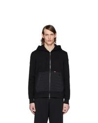 schwarzer gesteppter Pullover mit einem Kapuze von Moncler