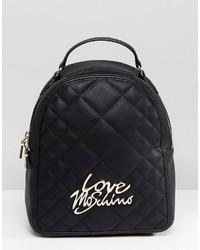 schwarzer gesteppter Rucksack von Love Moschino