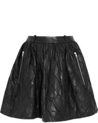 schwarzer gesteppter Skaterrock aus Leder von Preen Line