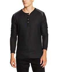 schwarzer Henley-Pullover von Esprit