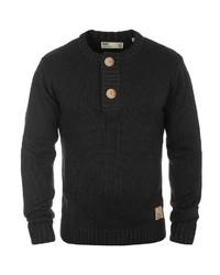 schwarzer Henley-Pullover von Solid