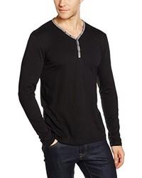 schwarzer Henley-Pullover von Tom Tailor Denim