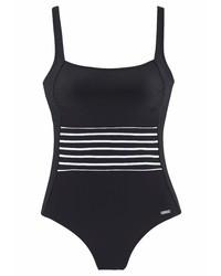 schwarzer horizontal gestreifter Badeanzug von Lascana