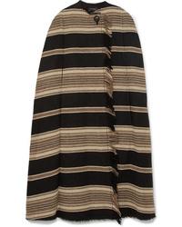 schwarzer horizontal gestreifter Cape Mantel von Isabel Marant
