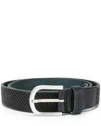 schwarzer horizontal gestreifter Ledergürtel von Dondup