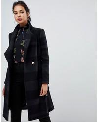 schwarzer horizontal gestreifter Mantel von Ted Baker
