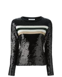 schwarzer horizontal gestreifter Pailletten Pullover mit einem Rundhalsausschnitt von Aviu