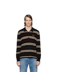 schwarzer horizontal gestreifter Polo Pullover von Burberry