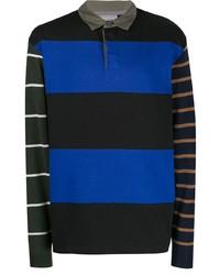 schwarzer horizontal gestreifter Polo Pullover von Lanvin