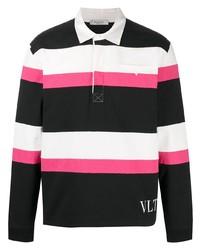 schwarzer horizontal gestreifter Polo Pullover von Valentino