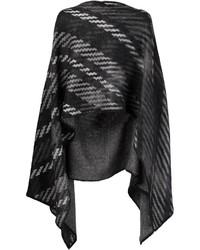 schwarzer horizontal gestreifter Poncho von Issey Miyake