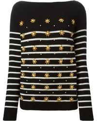 schwarzer horizontal gestreifter Pullover mit einem Rundhalsausschnitt