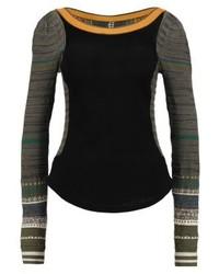 schwarzer horizontal gestreifter Pullover mit einem Rundhalsausschnitt von Free People
