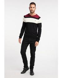 schwarzer horizontal gestreifter Pullover mit einem V-Ausschnitt von Dreimaster