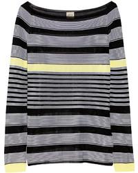 schwarzer horizontal gestreifter Pullover von Tod's