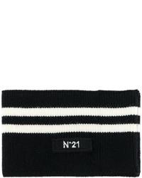 schwarzer horizontal gestreifter Schal von No.21