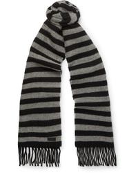 schwarzer horizontal gestreifter Wollschal von Saint Laurent