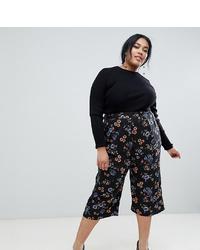 schwarzer Hosenrock mit Blumenmuster von Influence Plus