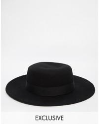 schwarzer Hut von Reclaimed Vintage