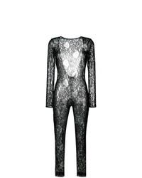 schwarzer Jumpsuit aus Spitze von MSGM