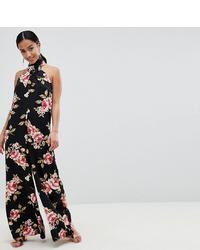 schwarzer Jumpsuit mit Blumenmuster von Asos Petite