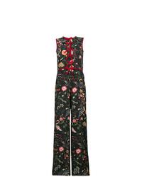 schwarzer Jumpsuit mit Blumenmuster von RED Valentino