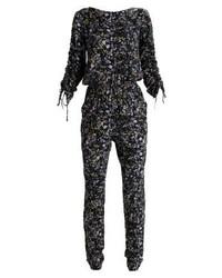 schwarzer Jumpsuit mit Blumenmuster von Vila
