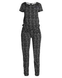 schwarzer Jumpsuit mit Karomuster von Comma