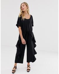 schwarzer Jumpsuit mit Rüschen von French Connection