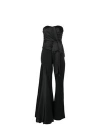 schwarzer Jumpsuit mit Rüschen von Moschino