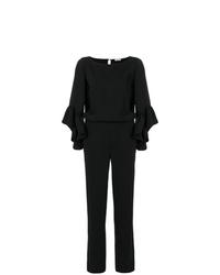 schwarzer Jumpsuit mit Rüschen von P.A.R.O.S.H.