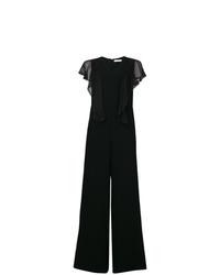 schwarzer Jumpsuit mit Rüschen von See by Chloe