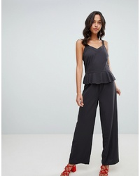 schwarzer Jumpsuit mit Rüschen von Vila