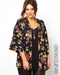 schwarzer Kimono mit Blumenmuster von Asos Curve