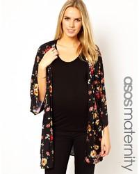 schwarzer Kimono mit Blumenmuster von Asos Maternity