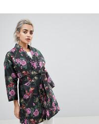 schwarzer Kimono mit Blumenmuster von Asos Petite