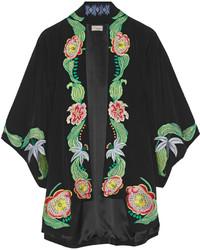 schwarzer Kimono mit Blumenmuster von Temperley London