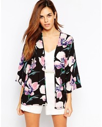 schwarzer Kimono mit Blumenmuster von Warehouse