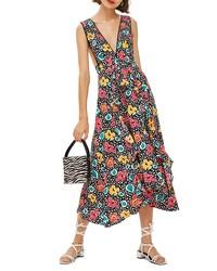 schwarzer Kleiderrock mit Blumenmuster