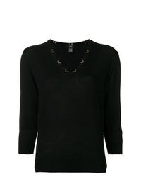 schwarzer Kurzarmpullover von Cavalli Class