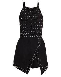 schwarzer kurzer Jumpsuit aus Leder von Missguided