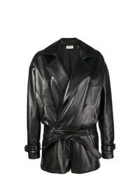 schwarzer kurzer Jumpsuit aus Leder von Saint Laurent