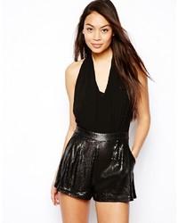 schwarzer kurzer Jumpsuit aus Pailletten von Lipsy