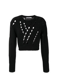 schwarzer kurzer Pullover von T by Alexander Wang