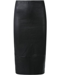 schwarzer Leder Bleistiftrock
