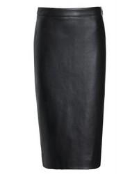schwarzer Leder Bleistiftrock von DKNY