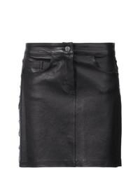 schwarzer Leder Minirock von Amiri