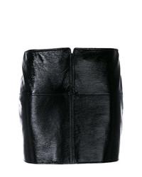 schwarzer Leder Minirock von Courreges