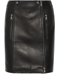 schwarzer Leder Minirock von Karl Lagerfeld